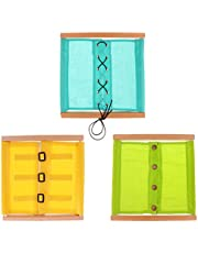 MagiDeal 3pc Wooden Montessori Early Learning Educational Materials Small Buttons Dressing Frame Kids Christmas Gifts