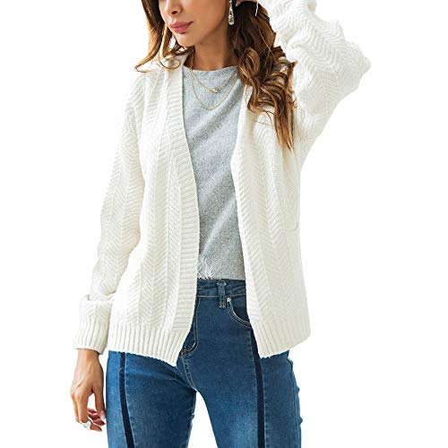 NREALY Sweaters Women's Long Sleeve Knitwear Open Front Cardigan Sweaters Casual Outerwear(L, White) ()