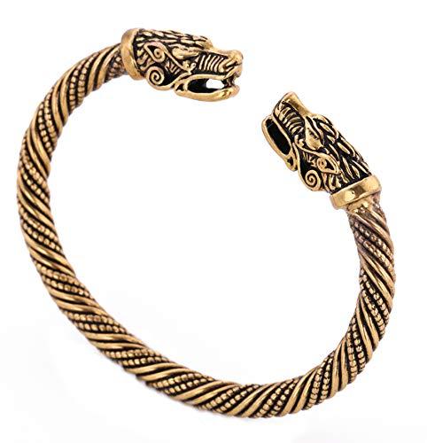 Viking Dragon Head Metal Cuff Bangle Irish Celtic Knot Screw Bracelet (antique gold)