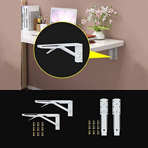 Kontorsfällbord, väggbord, matsal-sidobord av trä enkel och hopfällbar, 50 x 30 cm, lämplig för hemmafixare olika utrymmesbesparande, max. belastning 100 kg (vit)