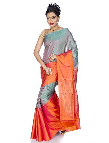 - Mandakini - Indian Women's Kanchipuram - Handloom - Pure Silk Saree (Grey - Orange)
