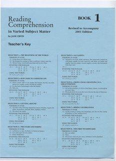 Reading Comprehension 1 Grd 3 Key pdf
