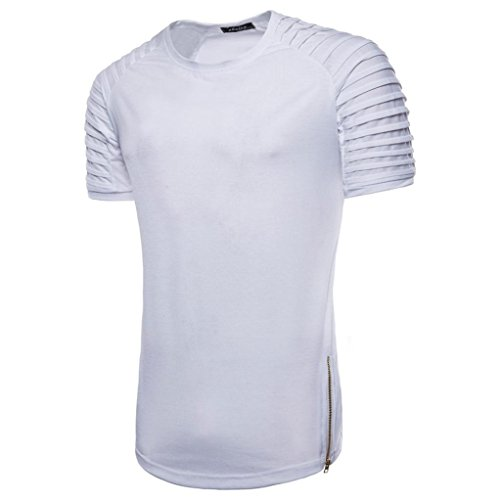 GREFER Clearance Sale!Men's Casual Slim Short Sleeve Striped T Shirt Top Blouse (L, White)