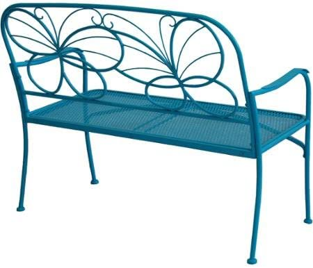 Generic Mainstays Vibrant Blue Care-free Finish Metal Whimsical Butterfly Bench Heavy-duty Steel Frame