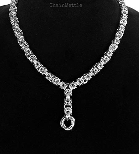 Byzantine and Love Knot Stainless Steel Necklace, 11th Anniversary Wedding Gift for Wife - Jewelry for Women & Men by ChainMettle ()