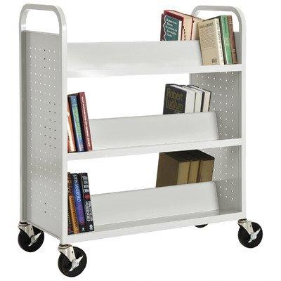 6 Shelves White 39 Width 19 Length Sandusky Lee SV336-22 Double Sided Sloped Shelf Welded Book Truck 46 Height