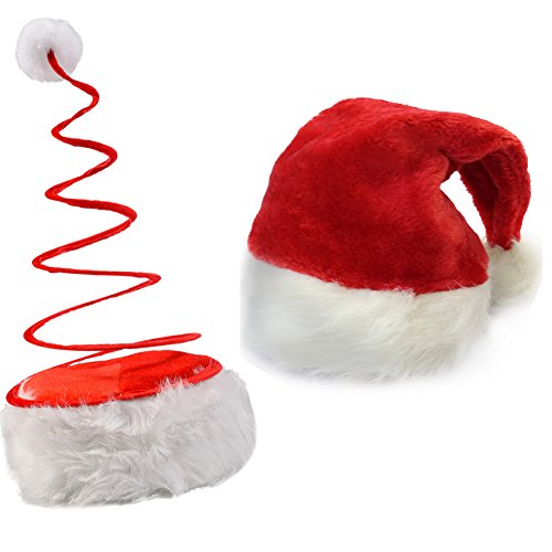 [Santa Coil Hat - Pack Santa Hats - Christmas theme - 2-Pack by Funny Party Hats] (Elf Hats For Adults)
