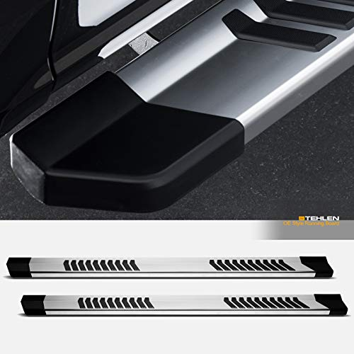 "Stehlen 714937190818 For 15-19 Ford F150 ; 17-19 F250 / F350 / F450 / F550 Superduty SuperCrew (Crew) Cab 6"" OE Series Stripe Polymer Design Aluminum Running Boards - Silver"