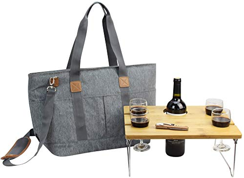 Picnic Basket Tote Set with Table | Picnic Shoulder Bag Set | Stylish All-in-One Portable Set | 4 Person Table Service | Cooler Bag for Camping | Insulated Tote Bag | Cooler Bag Business Gift [Grey] (Bag Picnic Set)