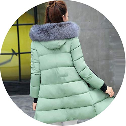 Winter Long Jacket Fashion Winter Coat Women Hooded Winter Jacket Parkas,Light Green 1,L