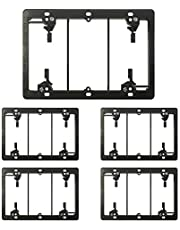 [5 Pack] BESTTEN 3-Gang Old Work Low Voltage Mounting Bracket, for Telephone Wires, Coaxial Cable, HDMI/HDTV Cable, Speaker Wire, Network/Phone Cable and More, Standard Size, Black