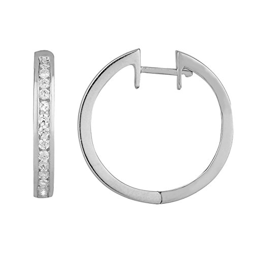 Boucles d'oreilles diamants huggies 7/8 ct tw rondes coupées or blanc 9K