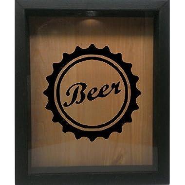 Wooden Shadow Box Wine Cork/Bottle Cap Holder 9 x11  - Beer Cap (Ebony w/Black)