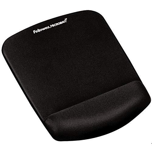 Fellowes Foam Fusion Plus Touch - Alfombrilla con reposamuñecas ergonómico para ratón, gel y espuma, color negro