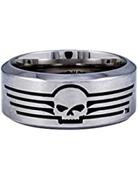 harley davidson mens stainless steel willie g skull with lines band ring - Harley Davidson Wedding Rings