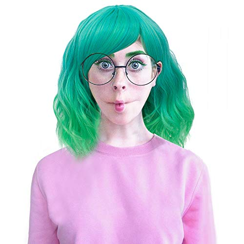 Probeauty Lolita 40CM Short Curly Fashion Women Mixed Brown Anime Cosplay Wig + Wig Cap (Green Ombre F6A) -