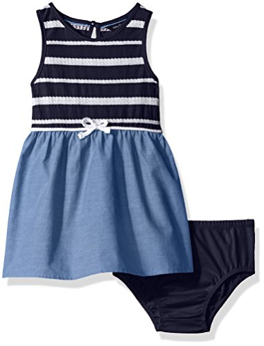 Nautica Baby Girls' Border Sail Print Dress, Navy, 6/9 Months