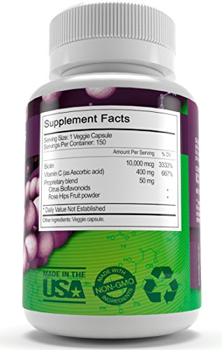 Biotin Supplement By Just Potent 10000 MCG Hair Growth Support For Longer Healthier And Luscious Hair Radiant Skin Stronger Longer And Healthier Nails 150 Capsules 5 Month Supply