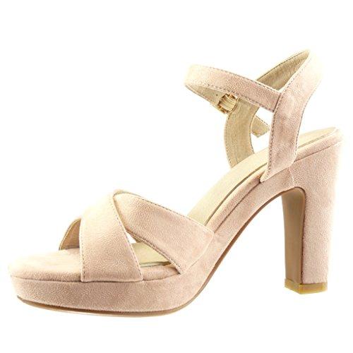 Angkorly - Scarpe da Moda sandali scarpe decollete zeppe sexy donna tanga fibbia Tacco a blocco tacco alto 10.5 CM - Rosa