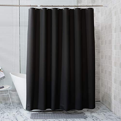 AmazerBath Plastic Shower Curtain, 72 x 72 Inches EVA 8G Black Shower Curtain with Clear Stones and Grommet Holes, Waterproof Thick Bathroom Shower Curtains