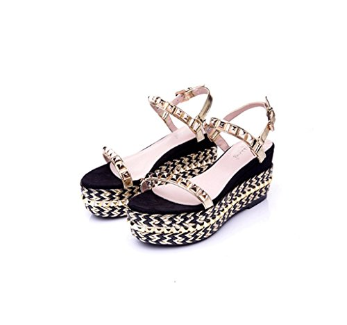 Golden Wedges Summer Sandals Braided Fashion Sandals Shoes Gold New Shoes Thick Dream Rivets vqa4Fw
