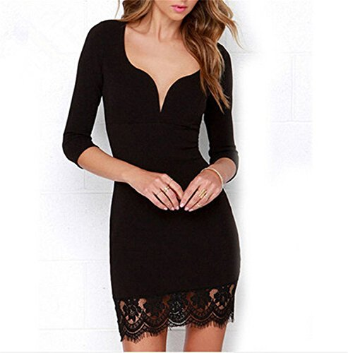 Robes Cloîtrée Womens Cou V Cocktail Floral Black1 Robe Courte