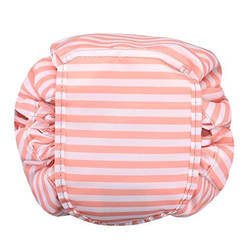 Cosmetic Bag Lazy Makeup Organizer, Fintie Water Resistant Portable Drawstring Large Capacity Travel Toiletry Storage Pouch Case for Women Girls, Stripe