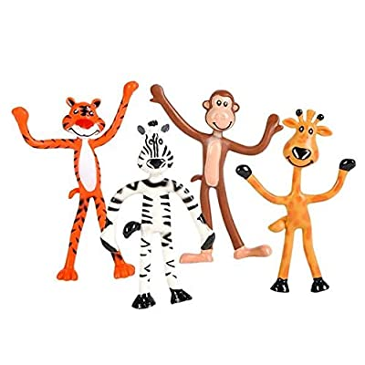 "4"" BENDABLE ZOO ANIMALS: Toys & Games"