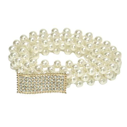 Mayunn Fashion Women's Diamond Inlaid Dress Decorative - Shiny Waistband Party Dress Elastic Pearl Waist Chain (E)