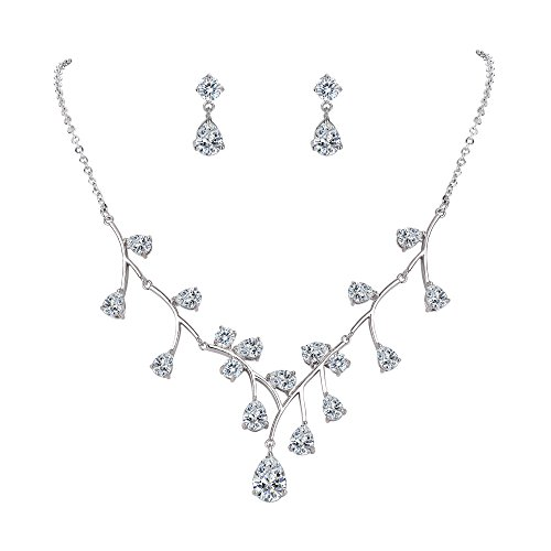 (FANZE Women's Cubic Zirconia Stunning Flower Vine Vintage Bridal Pierced Earrings Pendant Necklace Jewelry Set )