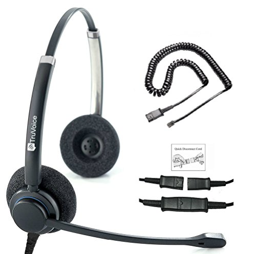 TruVoice HD-150 Professional Double Ear Noise Canceling Microphone Headset with U10P Bottom Cable Works with Mitel, Nortel, Avaya Digital, Polycom VVX, Shoretel, Aastra, Fanvil + Many More