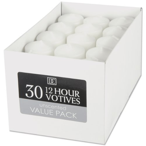 Votive Candles - Unscented - White - 12 Hour - 30 pieces