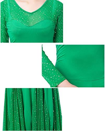 Praticare Tango Abiti Costumi xl A Moderno Valzer Treasureblue Prestazione Ballo Ballroom Per Da Wqwlf Vestiti Paillettes Danza Di Dance Donne Xl Maniche Rete wqZvngx4a
