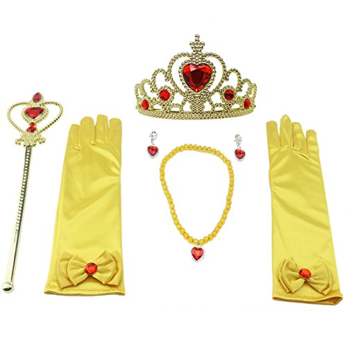 (Orgrimmar Princess Dress Up accessories For Belle Gloves Princess Tiara Crown Wand Necklaces For Kids)