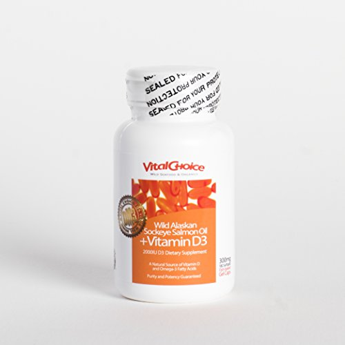 Vital Choice Wild Alaskan Sockeye Salmon Oil + Vitamin D3, 300 mg, 180 Count Bottles