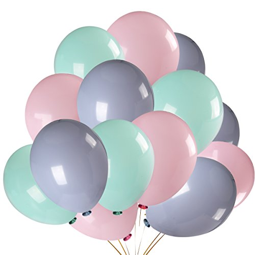 100Pcs Pastel Pink & Pastel Green & Pastel Purple Color Party Balloons,Bachelorette Wedding Hawaii Birthday Party Decoration Supplies