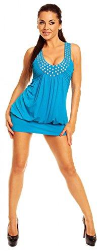 tunique ample coupe Cyan boule Femme Ville Zeta manches sans Robe 024z q7R6wC