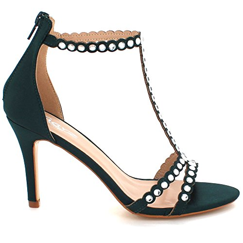 Femmes Chaussures Cristal Bal Foncé à des Fermeture Soir Taille Haut Talon Fête Mariage Diamante Vert Sandales Dames glissière de rZqF5r