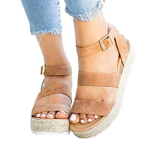 Ymost Womens Wedges Sandal Open Toe Ankle Strap Trendy Espadrille Platform Sandals Flats (9 B(M) US-EU Size 41, Z-Camel)