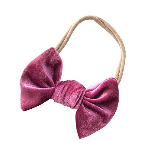 Mauve bow headband - baby headband - velvet bow - girls headband - nylon headband - headbands - pink (Pink Velvet Bow)