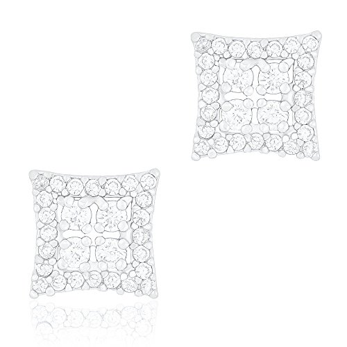 18k White Gold Plated Cubic Zirconia Square Unisex Stud Earrings by ORROUS & CO