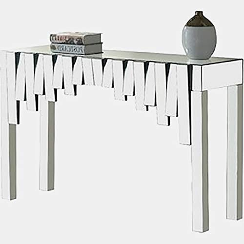 - Glass Console Table with Mirrored Top - Rectangular Geometric Console Table - Clear