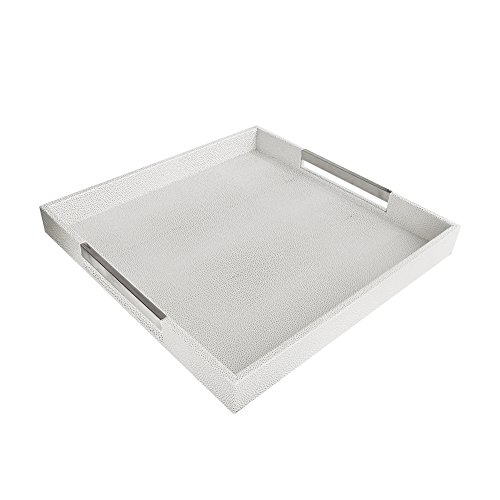 American Atelier 1630006 White & Gray Square Tray with Silver Handles - Square Silver Tray