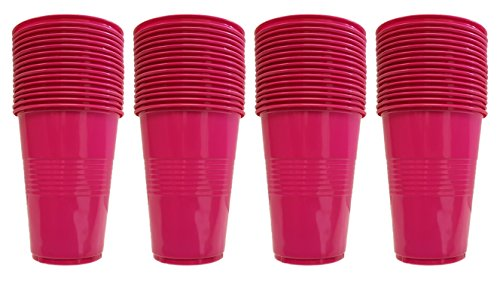 Set of 64 Pink Disposable Plastic Party Cups! 4 Hot Colors - 16oz Cups - Perfect For Parties, BBQ's, or Regular Use! (Pink)
