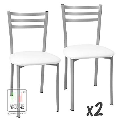 Stil Sedie 2 x Sedie da cucina in similpelle Bianco con schienale in ...