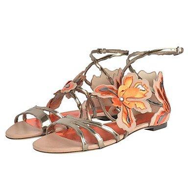 Enochx sandali da donna estate comfort in similpelle nozze ufficio & carriera party & sera Abito casual tacco piatto applique fibbia, marrone, US8/EU39/UK6/CN39