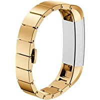Fitbit Alta Strap,Omaxy Metal Band Stainless Steel Wrist Replacement Band for Fitbit Alta Fitness (Gold)