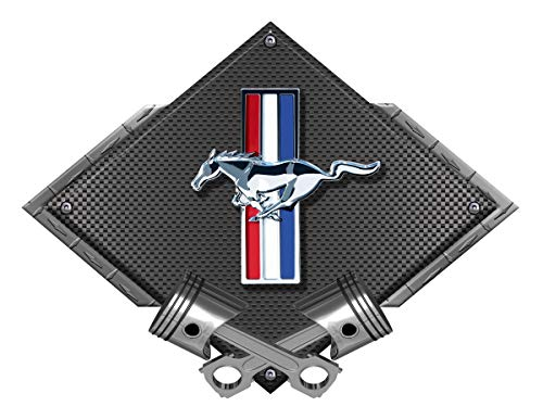 ZIC Motorsports Ford Mustang Tribar Pony Black Diamond with Crossed Pistons Heavy Duty Metal Garage Wall Sign - 25