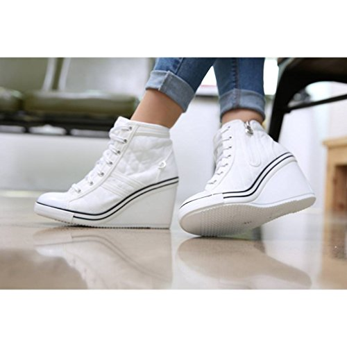 5f3cdabc04a9 well-wreapped EpicStep Women s Canvas Shoes High Top Wedges High Heels  Quilted Casual Fashion Sneakers