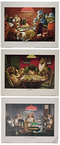 WallsThatSpeak 3 Dogs Playing Poker Posters Classic Americana Game Room Art Prints, 8 x 10-Inch, Red/Black/Green Dogs Playing Cards Picture